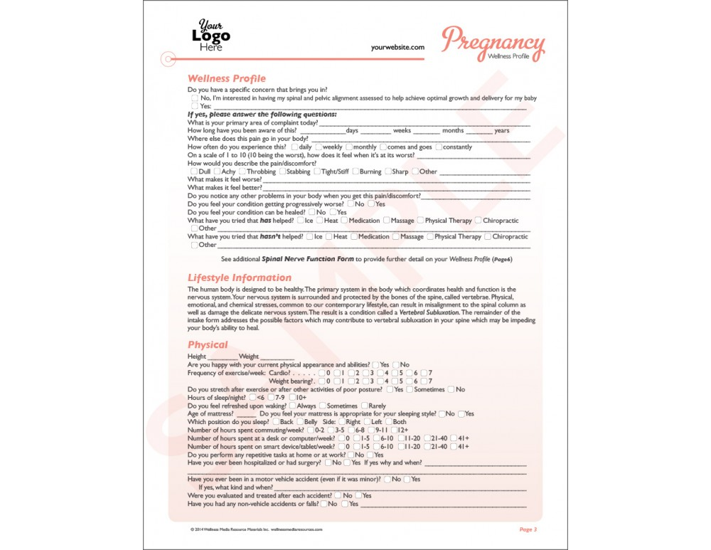 Chiropractic Pregnancy Intake Forms