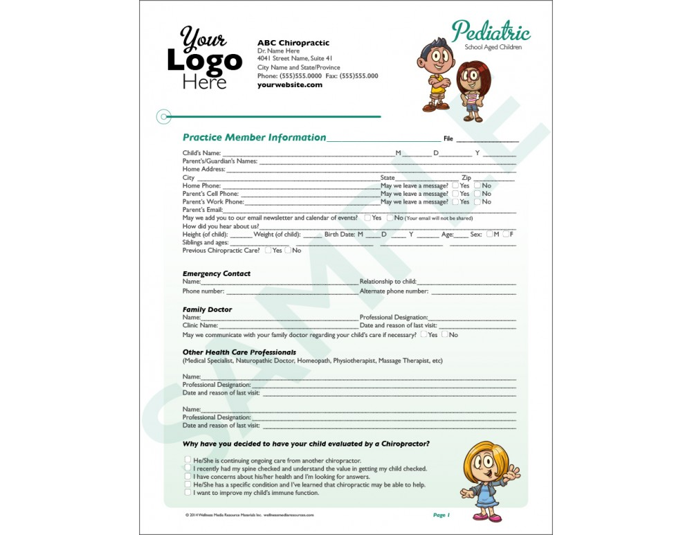 Custom Chiropractic Intake Forms on baby checks, baby activities, baby banners, baby invitations, baby labels, baby directions, baby transportation, baby dividers,