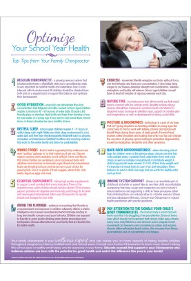 Optimize Your School Year Health Handout
